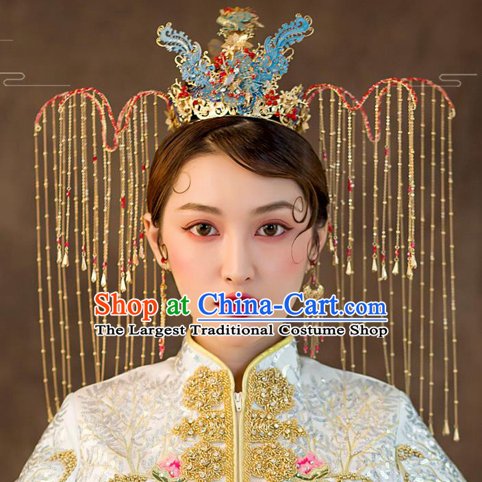 Traditional Chinese Wedding Blue Phoenix Coronet Hairpins Handmade Ancient Bride Hair Accessories for Women