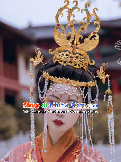 Traditional Chinese Tang Dynasty Empress Golden Phoenix Coronet Hairpins Handmade Ancient Queen Hair Accessories for Women
