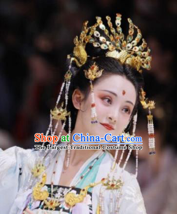Traditional Chinese Tang Dynasty Empress Colorful Phoenix Coronet Hairpins Handmade Ancient Queen Hair Accessories for Women