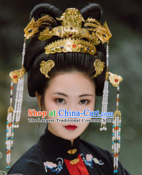 Traditional Chinese Ming Dynasty Empress Phoenix Coronet Hairpins Handmade Ancient Queen Hair Accessories for Women