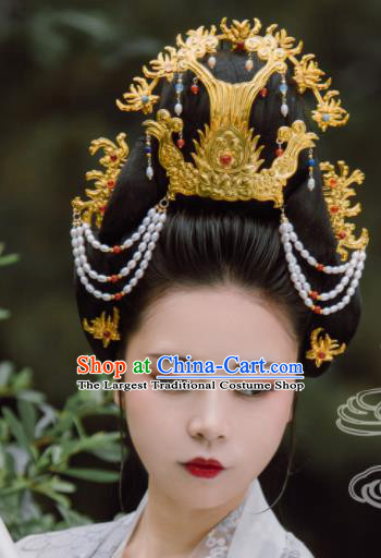 Traditional Chinese Tang Dynasty Empress Pearls Phoenix Coronet Hairpins Handmade Ancient Queen Hair Accessories for Women