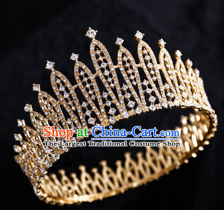 Top Handmade Wedding Bride Crystal Golden Round Royal Crown Baroque Princess Hair Accessories for Women