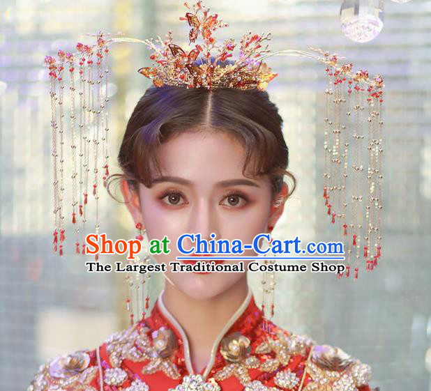 Traditional Handmade Chinese Wedding Red Phoenix Coronet Hairpins Ancient Bride Hair Accessories for Women