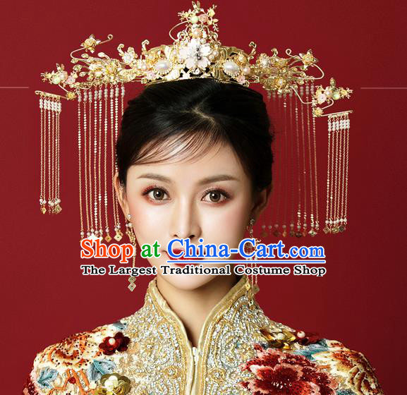 Traditional Chinese Wedding Golden Phoenix Coronet Hairpins Handmade Ancient Bride Hair Accessories for Women
