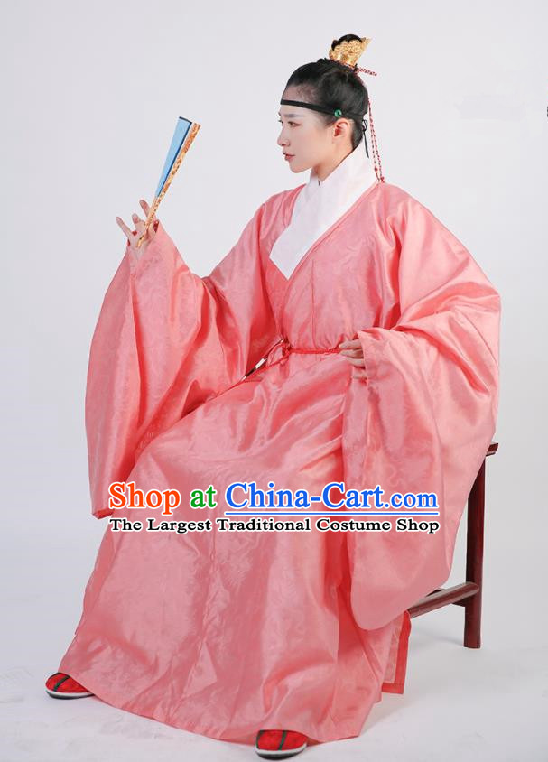 Traditional Chinese Hanfu Pink Robe Ancient Ming Dynasty Scholar Historical Costumes for Men