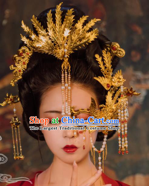 Traditional Chinese Tang Dynasty Empress Coronet Phoenix Hairpins Handmade Ancient Queen Hair Accessories for Women