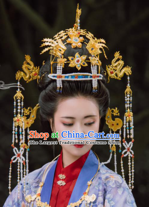 Traditional Chinese Ming Dynasty Empress Dragon Coronet Hairpins Handmade Ancient Queen Hair Accessories for Women