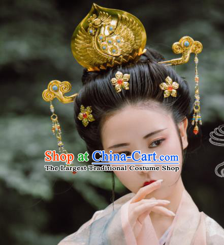 Traditional Chinese Tang Dynasty Princess Phoenix Coronet Hairpins Handmade Ancient Queen Hair Accessories for Women