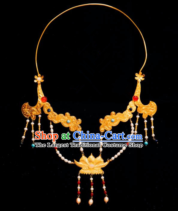 Chinese Traditional Tang Dynasty Golden Lotus Pearls Necklace Handmade Ancient Princess Necklet Accessories for Women