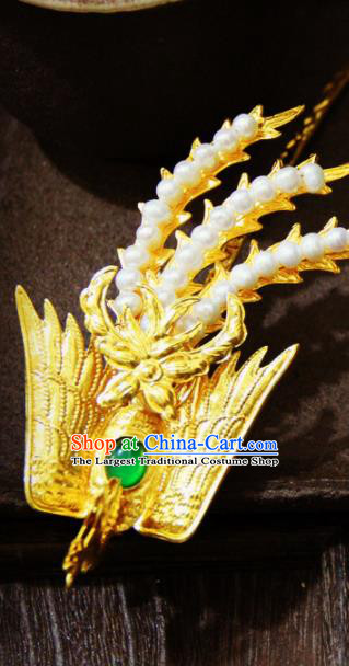 Chinese Traditional Qing Dynasty Golden Phoenix Hairpins Handmade Ancient Royal Empress Hair Accessories for Women