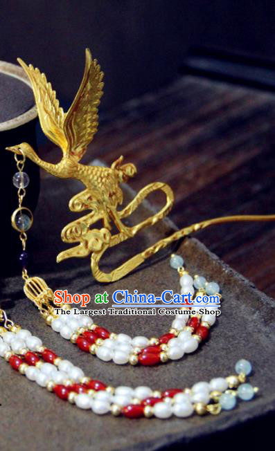 Chinese Traditional Ming Dynasty Golden Crane Tassel Hairpins Handmade Ancient Royal Princess Hair Accessories for Women
