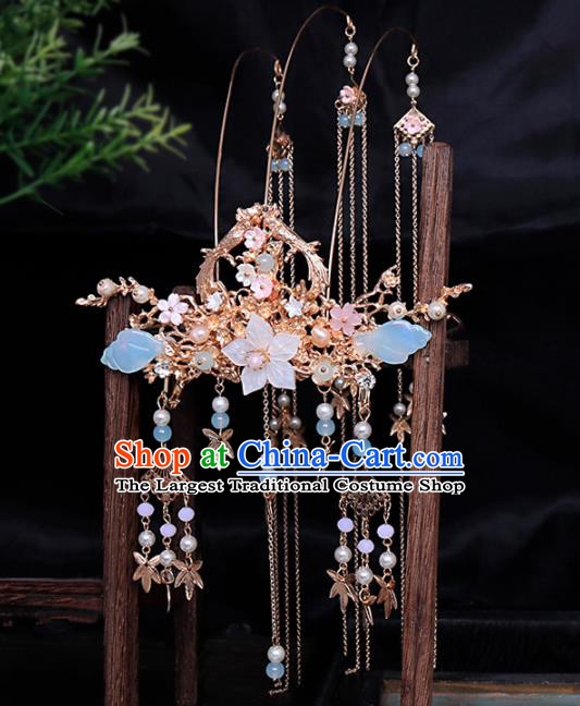 Traditional Chinese Ming Dynasty Tassel Phoenix Coronet Hairpins Handmade Ancient Princess Hair Accessories for Women