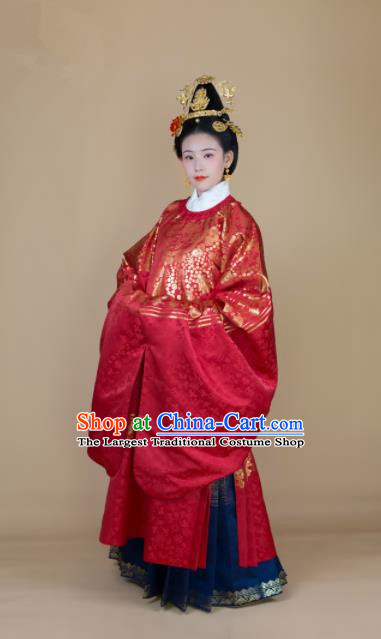 Traditional Chinese Ming Dynasty Royal Empress Red Hanfu Dress Ancient Court Queen Wedding Historical Costumes for Women