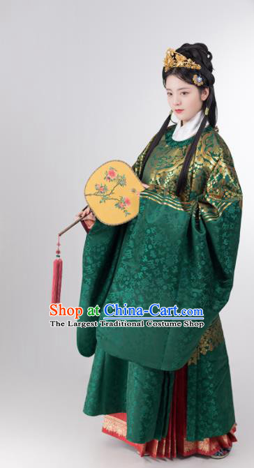 Traditional Chinese Ming Dynasty Infanta Green Hanfu Dress Ancient Duchess Historical Costumes for Women