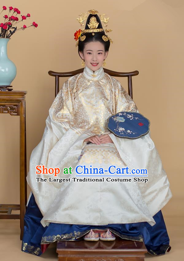 Traditional Chinese Ancient Infanta White Hanfu Dress Ming Dynasty Duchess Historical Costumes for Women
