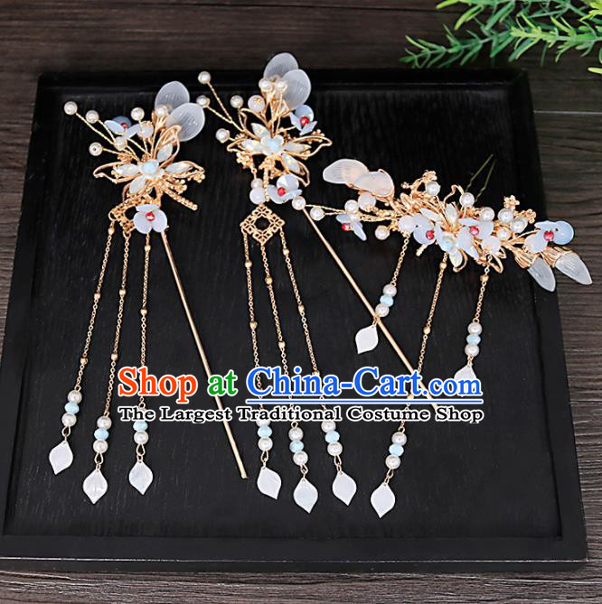 Traditional Chinese Hanfu Dragonfly Hair Crown Hairpins Handmade Ancient Princess Hair Accessories Complete Set for Women