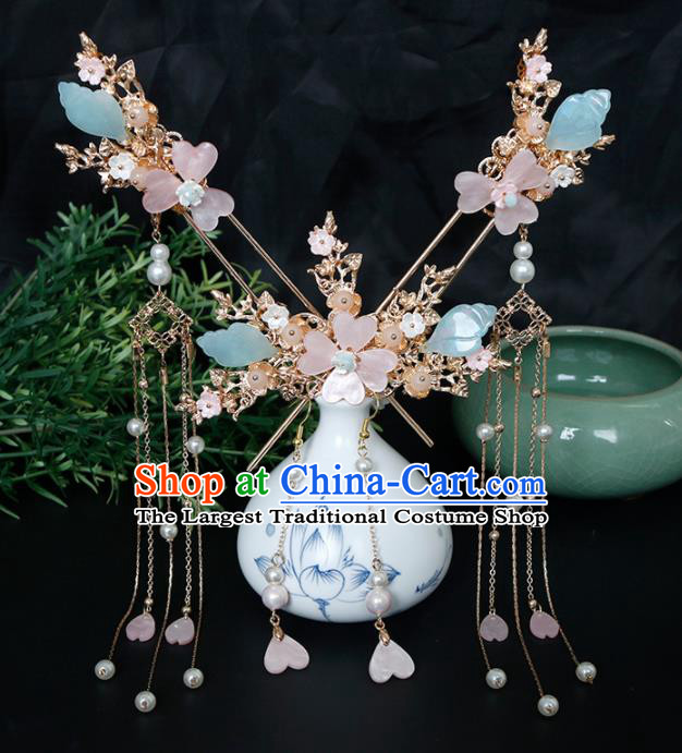 Traditional Chinese Hanfu Plum Tassel Hairpins Handmade Ancient Princess Hair Accessories Complete Set for Women