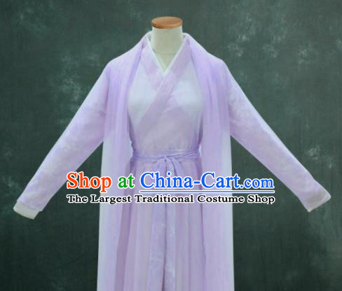 Chinese Drama Ancient Swordswoman Purple Hanfu Dress Ming Dynasty Princess Costume for Women