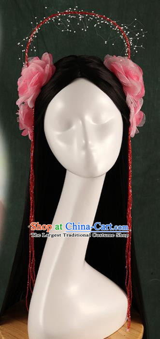 Traditional Chinese Song Dynasty Princess Wigs and Pink Hairpins Ancient Seven Fairies Hair Accessories for Women