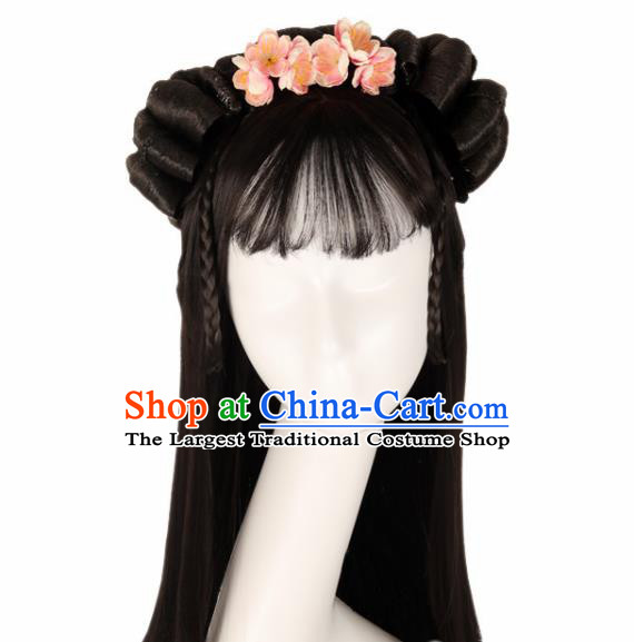 Chinese Traditional Song Dynasty Female Swordsman Wigs Ancient Fairy Princess Wig Sheath for Women