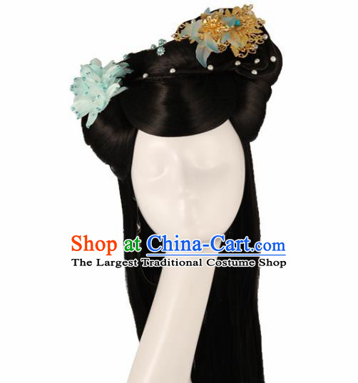 Traditional Chinese Song Dynasty Princess Wigs and Hairpins Ancient Fairy Hair Accessories for Women