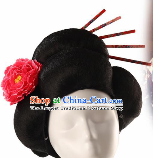 Japanese Traditional Geisha Wigs and Hairpins Ancient Fairy Princess Wig Sheath for Women