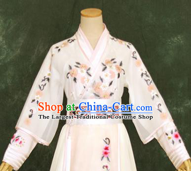 Chinese Ancient Swordswoman White Hanfu Dress Drama Goddess Princess Costume for Women