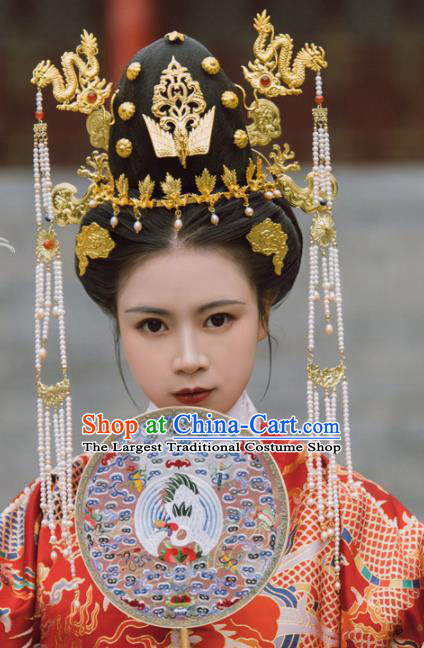 Traditional Chinese Ming Dynasty Empress Phoenix Coronet Dragon Hairpins Ancient Court Queen Hair Accessories for Women
