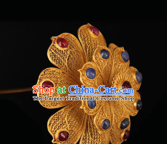 Chinese Traditional Ming Dynasty Queen Flower Hairpin Hairpins Ancient Empress Hair Accessories for Women