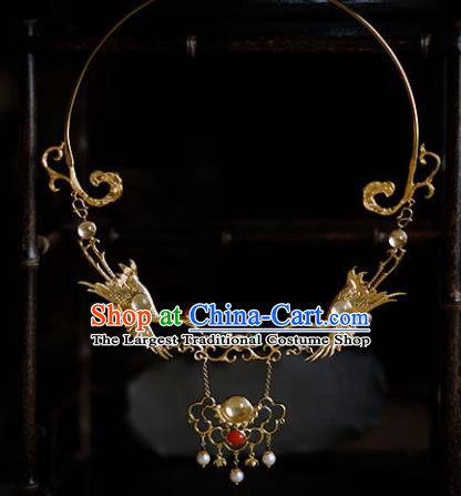Traditional Chinese Hanfu Golden Crane Necklace Handmade Ancient Princess Necklet Accessories for Women