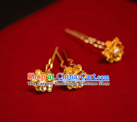 Chinese Traditional Ming Dynasty Queen Golden Lotus Hairpin Hairpins Ancient Empress Hair Accessories for Women