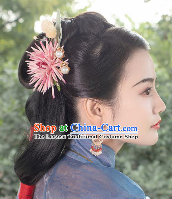 Chinese Traditional Ming Dynasty Queen Pink Chrysanthemum Hairpin Hairpins Ancient Empress Hair Accessories for Women