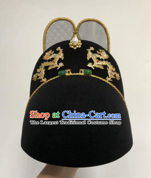 Chinese Traditional Ming Dynasty Emperor Hat Ancient Bridegroom Hair Accessories for Men