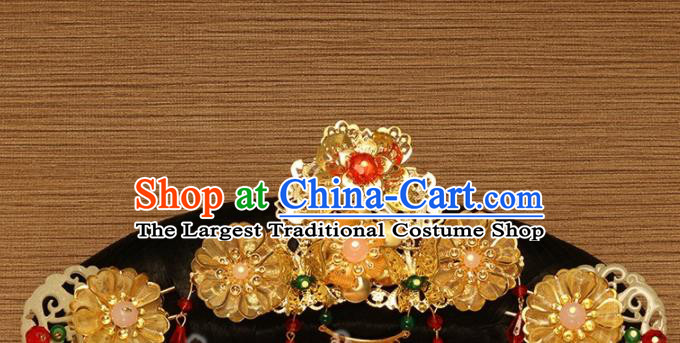 Traditional Chinese Qing Dynasty Imperial Consort Wigs and Hairpins Ancient Court Lady Hair Accessories for Women