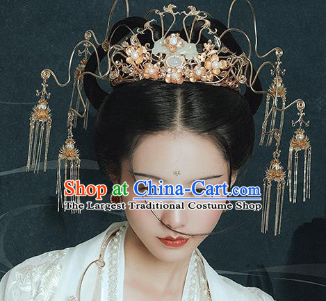 Traditional Chinese Ming Dynasty Jade Phoenix Coronet Tassel Hairpins Ancient Court Queen Hair Accessories for Women