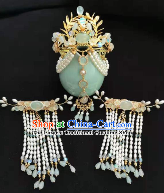 Traditional Chinese Ming Dynasty Pearls Hair Comb Tassel Hairpins Ancient Court Queen Hair Accessories for Women