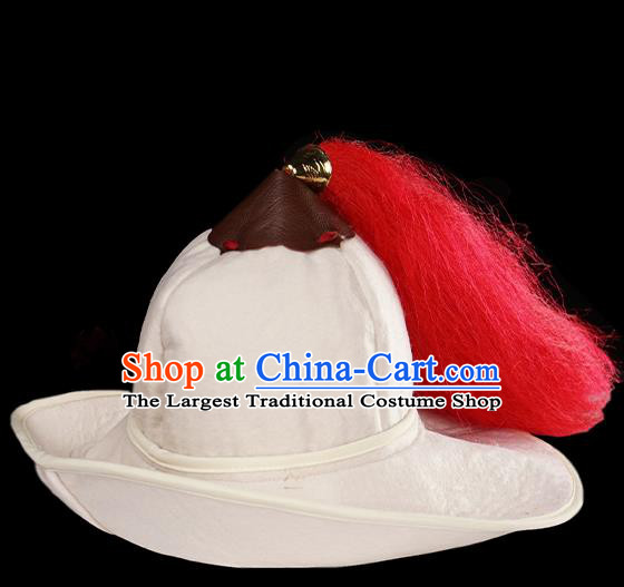 Traditional Chinese Song Dynasty Swordsman White Hat Ancient Soldier Headwear for Men