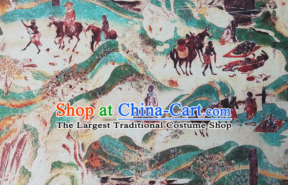 Chinese Traditional Wall Painting Pattern Silk Fabric Mulberry Silk Fabric Hanfu Dress Material