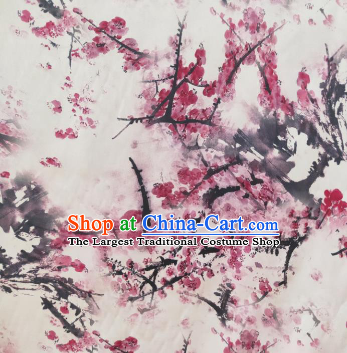 Chinese Traditional Ink Plum Blossom Pattern White Silk Fabric Mulberry Silk Fabric Hanfu Dress Material