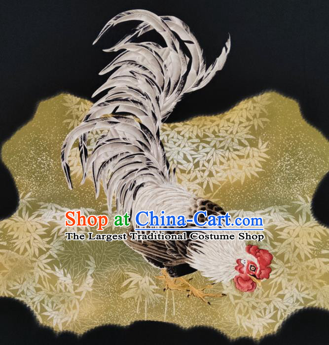 Chinese Traditional Rooster Bamboo Pattern Black Silk Fabric Mulberry Silk Fabric Hanfu Dress Material