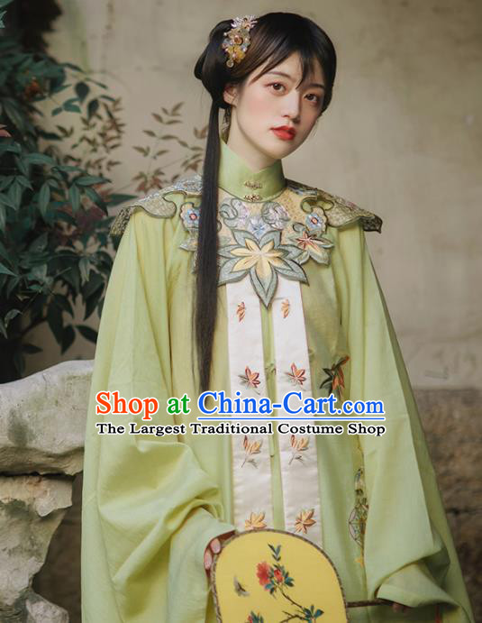 Chinese Ancient Palace Lady Embroidered Green Blouse and Skirt Traditional Ming Dynasty Princess Costume for Women