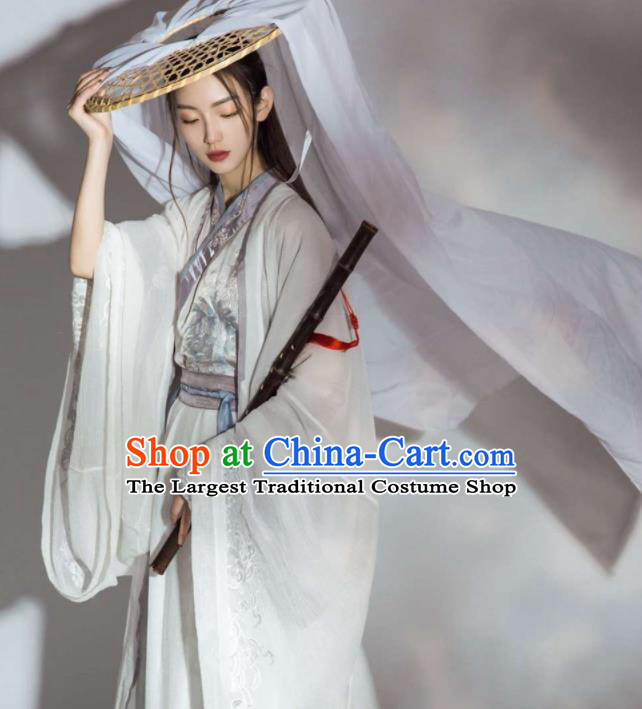 Chinese Ancient Swordsman Embroidered Clothing Traditional Jin Dynasty Female Knight Costume for Women