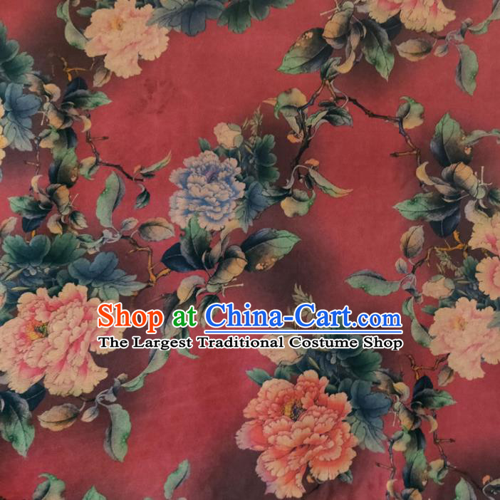 Chinese Traditional Peony Flowers Pattern Red Silk Fabric Mulberry Silk Fabric Hanfu Dress Material