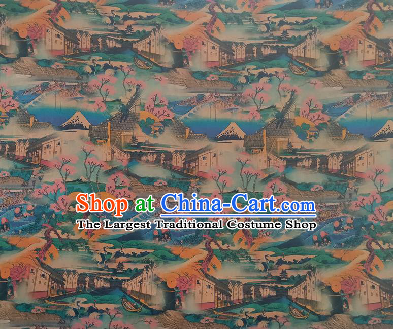 Chinese Traditional View Pattern Blue Silk Fabric Mulberry Silk Fabric Hanfu Dress Material