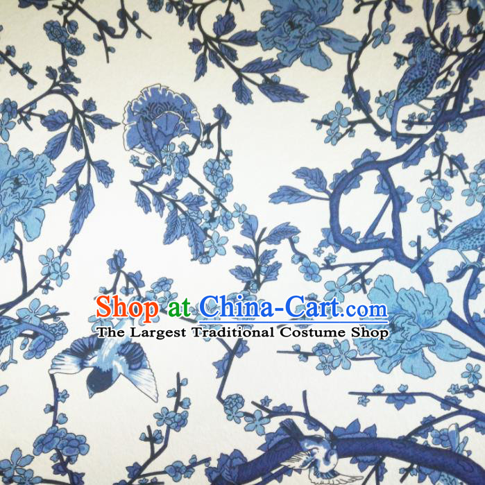 Chinese Traditional Blue Flowers Pattern Silk Fabric Mulberry Silk Fabric Hanfu Dress Material