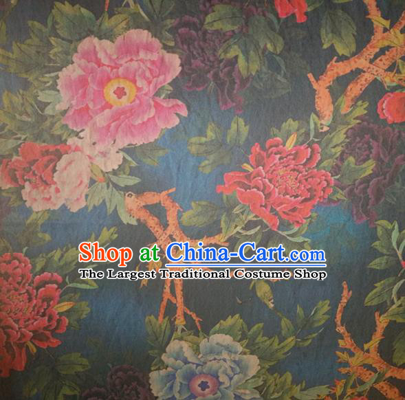 Chinese Traditional Peony Flowers Pattern Deep Blue Silk Fabric Mulberry Silk Fabric Hanfu Dress Material
