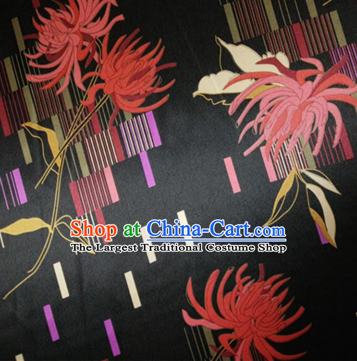 Chinese Traditional Red Spider Lily Pattern Black Silk Fabric Mulberry Silk Fabric Hanfu Dress Material