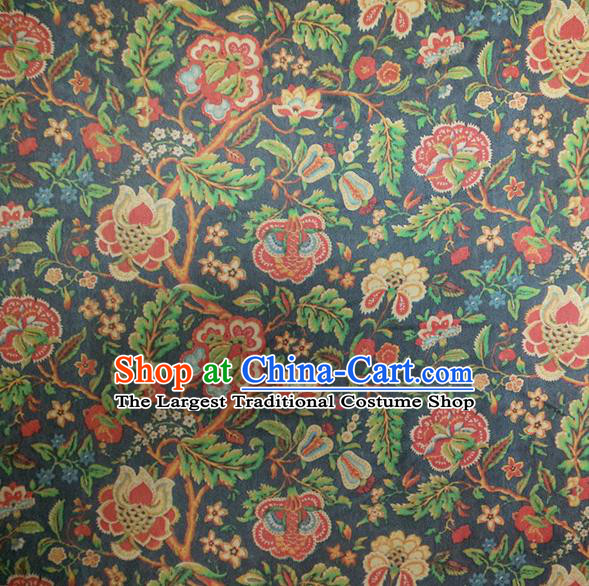 Chinese Traditional Twine Flowers Pattern Navy Silk Fabric Mulberry Silk Fabric Hanfu Dress Material