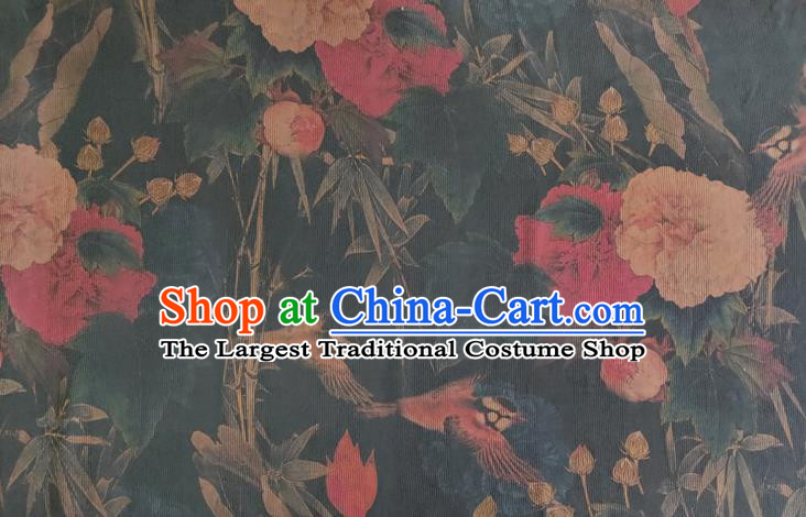 Chinese Traditional Bamboo Peony Pattern Navy Silk Fabric Mulberry Silk Fabric Hanfu Dress Material