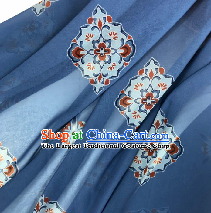 Chinese Traditional Classical Pattern Blue Chiffon Fabric Silk Fabric Hanfu Dress Material